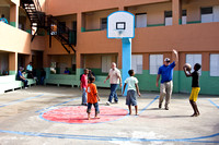 Playing basketball & baseball in the community